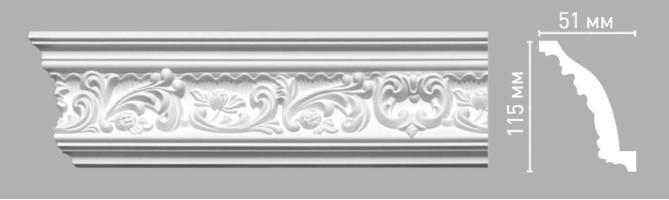 Плинтус потолочный с рисунком Decomaster-3 95104 (115х51х2400 мм)