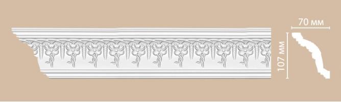 Плинтус потолочный с рисунком Decomaster 95696 (107x70x2400 мм)