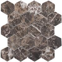 Мозаика Starmosaic Hex Hexagon Dark Emperador Tumbled 28.2x26