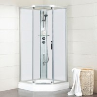 Душевая кабина Bravat Waterfall 90x90 BC090.6100A Хром стекло прозрачное без крыши