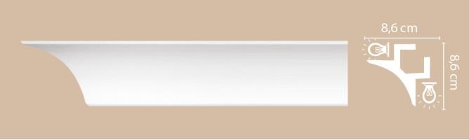 Плинтус потолочный Decomaster Артпрофиль A201 (86x86x2000 мм)