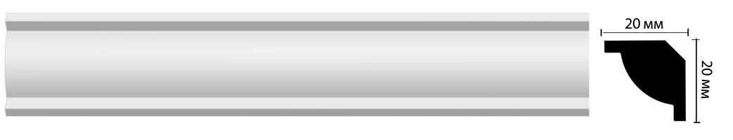 Плинтус потолочный Decomaster Дюропрофиль D132 ДМ (20x20x2000 мм)
