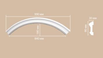 Радиус [1/4 круга] Decomaster 897901-120 (R нар. 690   R вн. 600 мм)