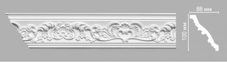 Плинтус потолочный с рисунком Decomaster-3 95786 (100х88х2400 мм)