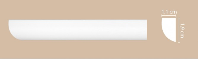 Плинтус потолочный Decomaster Артпрофиль A019 (19x11x2000 мм)
