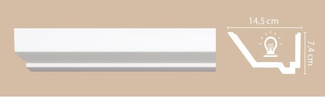 Плинтус потолочный Decomaster Артпрофиль A206 (74x145x2000 мм)