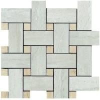 Мозаика Capri Ceramiche Travertino Mosaico Intreccio Grigio Lapp Rett 30x30