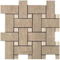 Мозаика Capri Ceramiche Travertino Mosaico Intreccio Noce Lapp Rett 30x30
