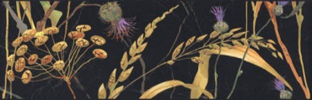 Бордюр Астория Птицы черный обрезной SST/A03/12000R 25x8 Kerama Marazzi