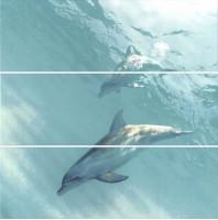 Настенное панно HGD/A55/3x/12093R Искья Дельфины обрезной (3 части) 75x75 Kerama Marazzi