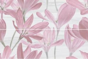 Панно 13012R/A/B/3F Сады Форбури Крокус розовый обрезной 11мм 2шт 60x89.5 Kerama Marazzi