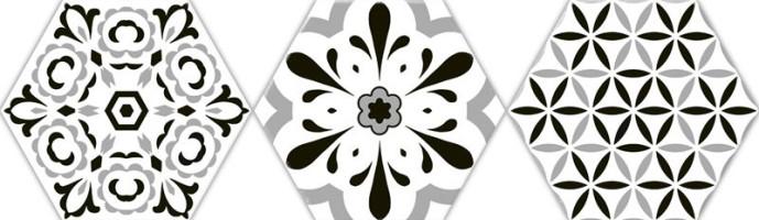 Керамогранит Oset Deco Versalles HEX Black 20x24