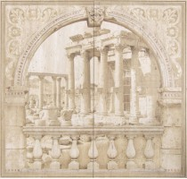 Настенное панно Tivoli Mural Poseidon Crema (Комплект 2 плитки) 62x60 Saloni Ceramica
