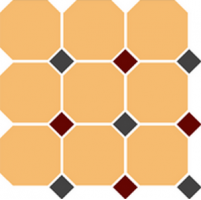 Керамогранит TopCer Octagon 4421 Oct14+20-A Ochre Yellow Octagon 21/Black 14 + Brick Red 20 Dots 30x30