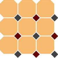 Керамогранит TopCer Octagon 4421 Oct20+14-B Ochre Yellow Octagon 21/Brick Red 20 + Black 14 Dots 30x30