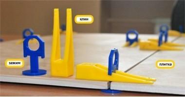 Система выравнивания плитки 3D Krestiki 1 мм (комплект: клин+зажим)